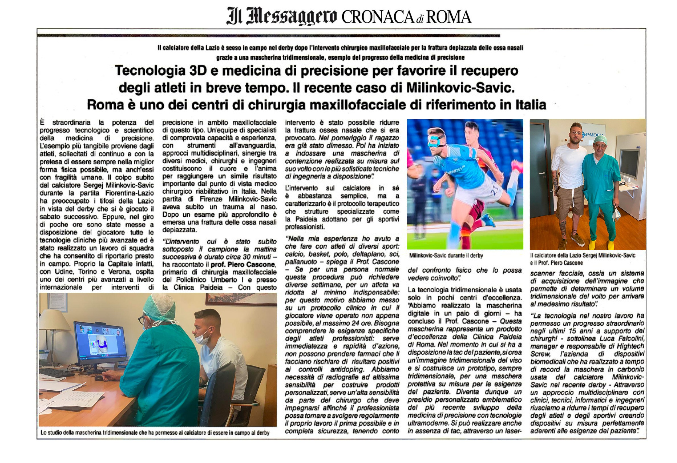 frattura naso calciatore Lazio